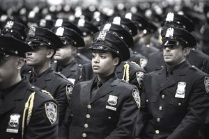 New York City Police Academy cadets attend their graduation ceremony
