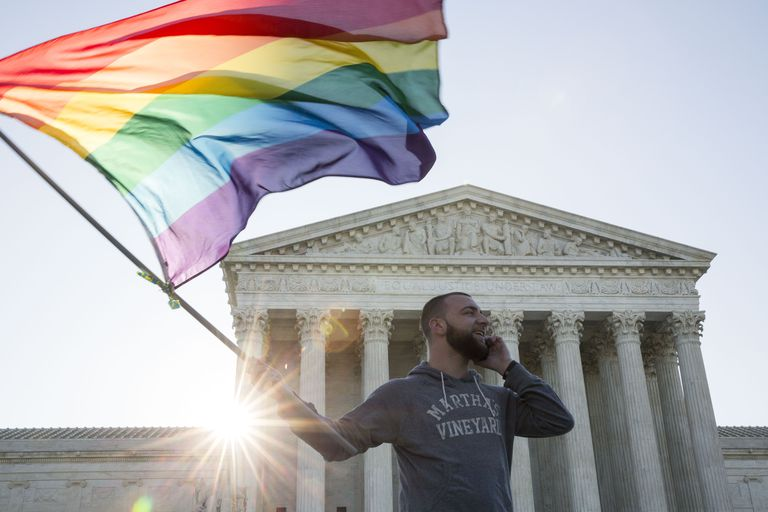 Protestor waves gay rights rainbow flag in front of US Supreme Court building