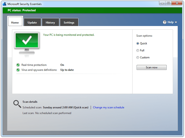 Screenshot of Microsoft Security Essentials v4.8 in Windows 7