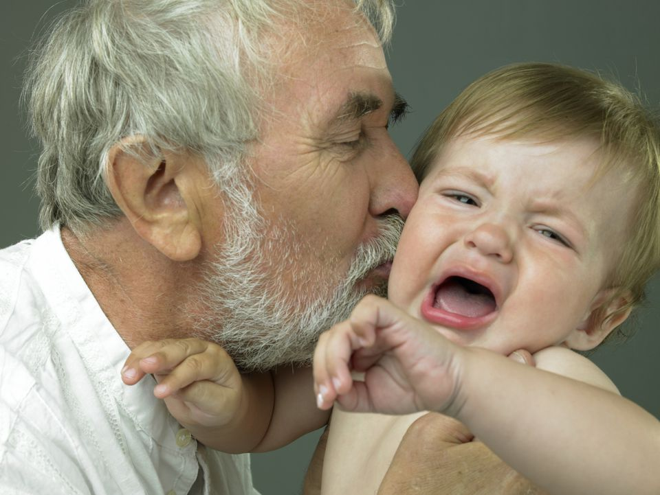 Stranger anxiety may be to blame when a grandbaby rejects a grandparent and cries.