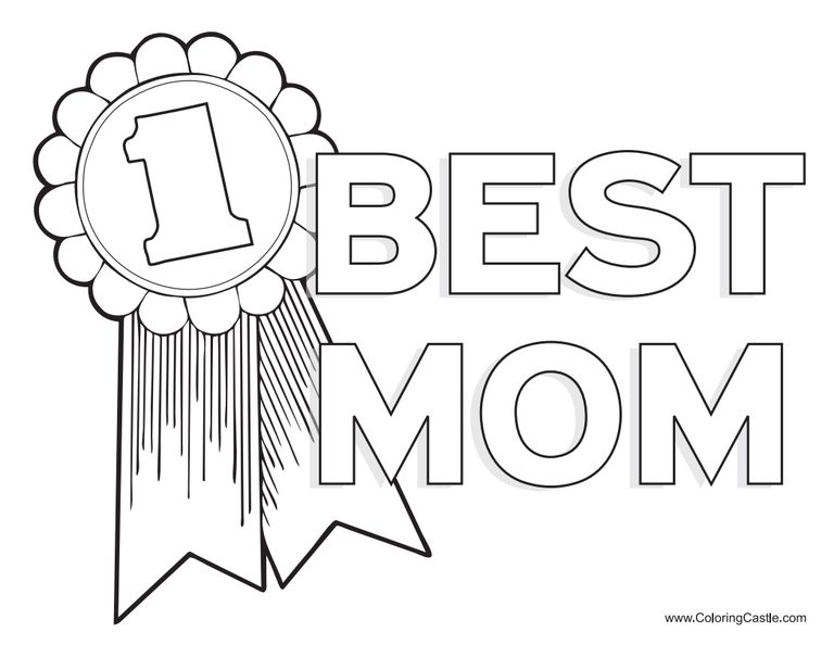 A Coloring Page That Says 1 Best Mom