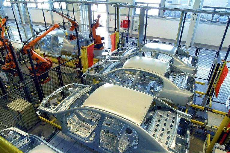 welding robots at car factory