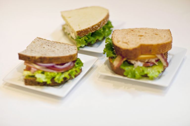 half-sandwiches on plates
