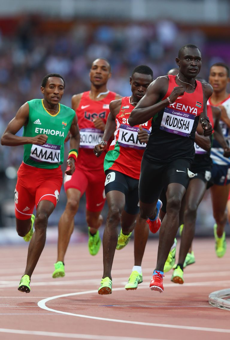 David Rudisha leads the pack, on his way to a gold medal and a world record in the 2012 Olympic 800-meter final.
