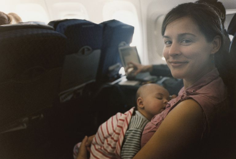 Travel tips for Breastfeeding on a plane, on a train, or on a car (road) trip.