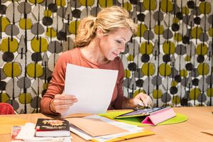 Woman calculating salary