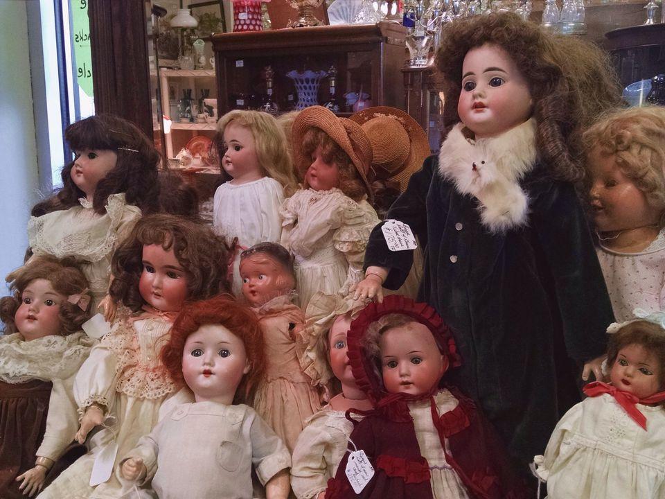 Dolls Displayed In Antique Shop For Sale