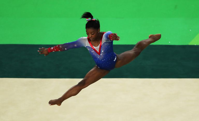 Simone Biles of the United States competes during the Women's Floor Final at Rio Olympic Arena on August 16, 2016 in Rio de Janeiro, Brazil.