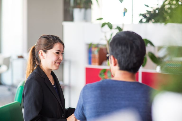 People talking during an interview