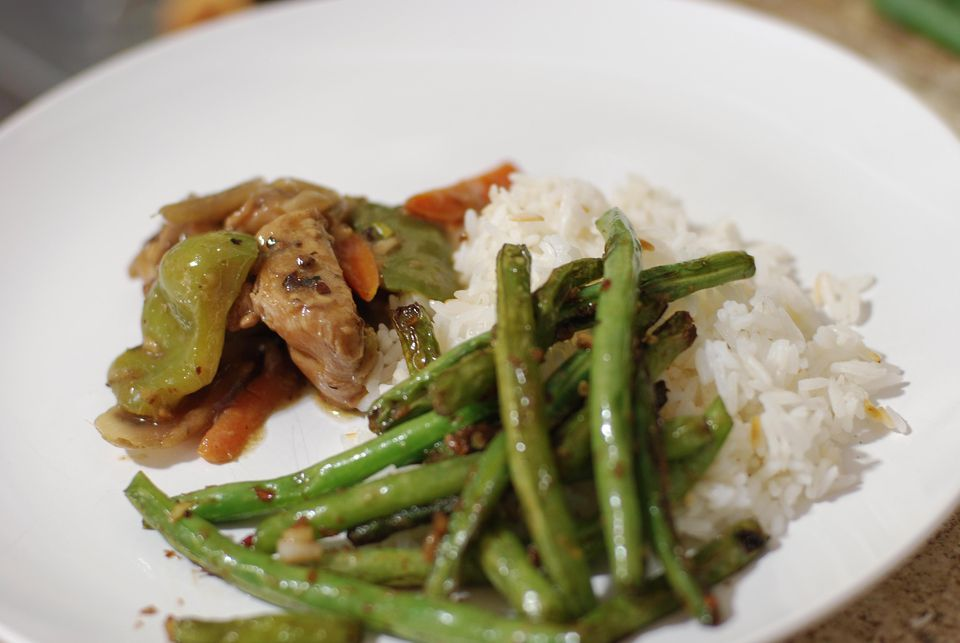 Chicken in Black Bean Sauce and Stir Fried Green Beans
