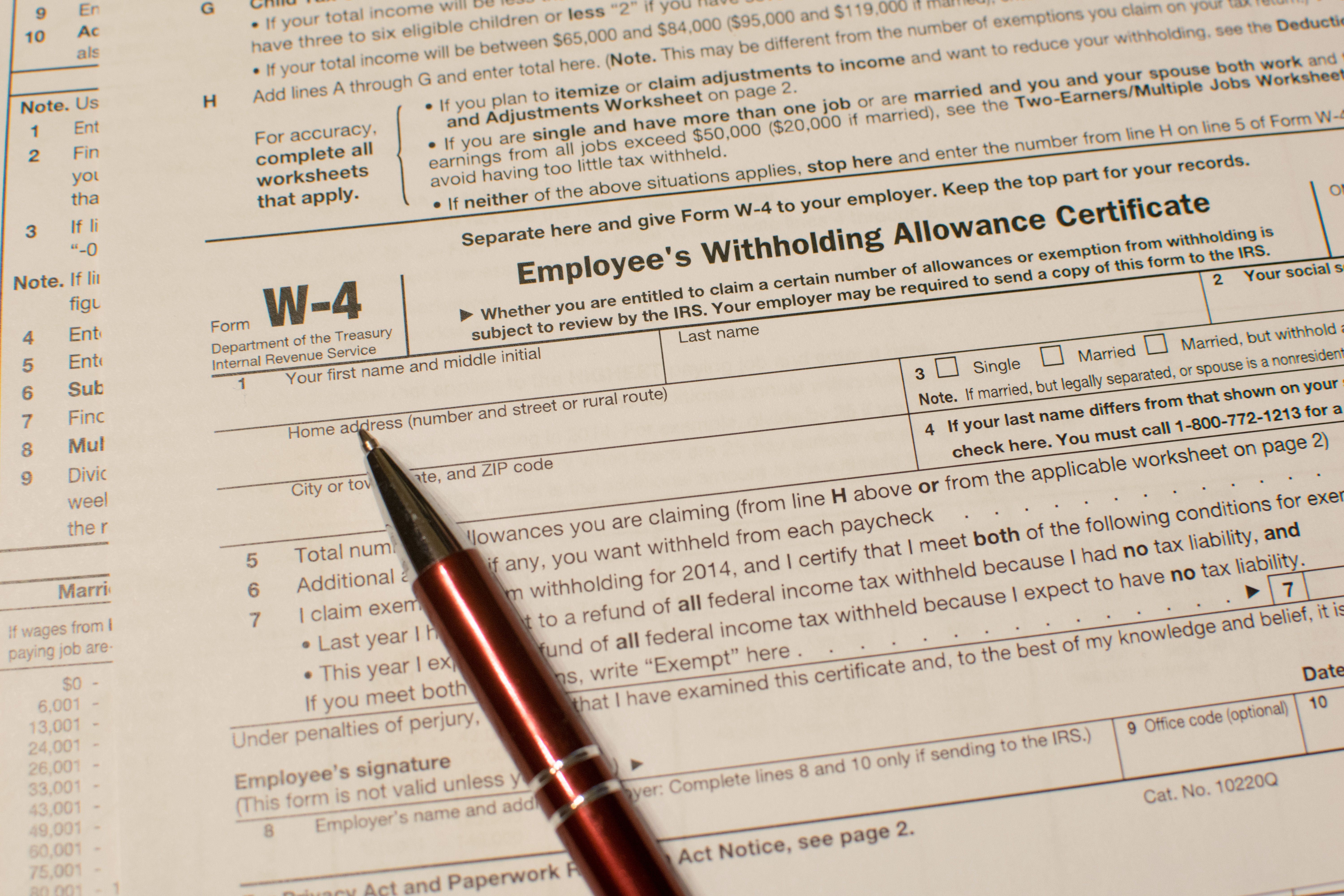 Reviewing the withholding election on your irs w 4 form tax time falaconquin