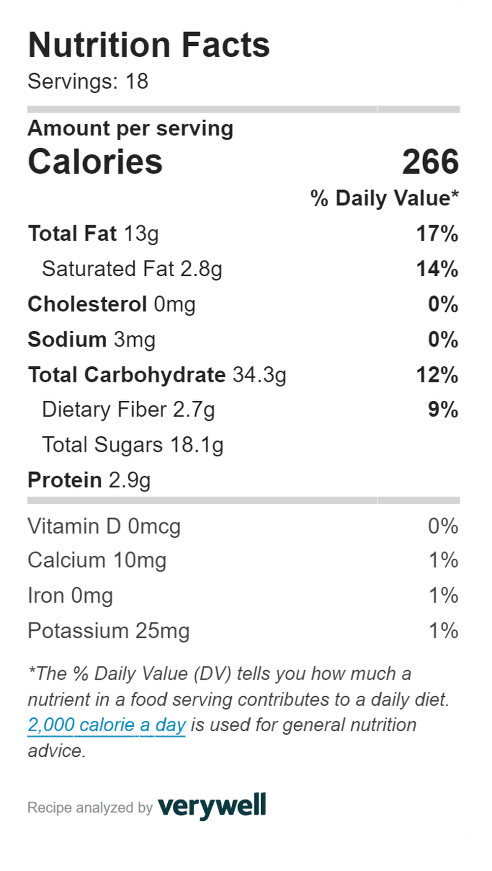 Nutrition card for oaty breakfast bars - 266 calories per bar