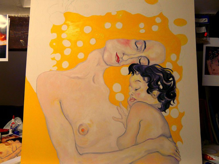 Klimt underpainting yellows