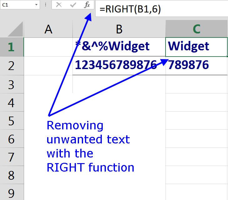 Removing unwanted text with the RIGHT function in Excel