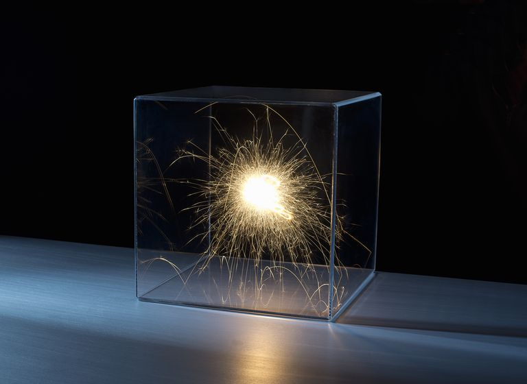 Sparks in a clear box.