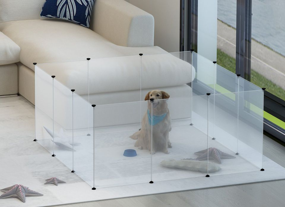 Tespo Dog Playpen, Portable Large Plastic