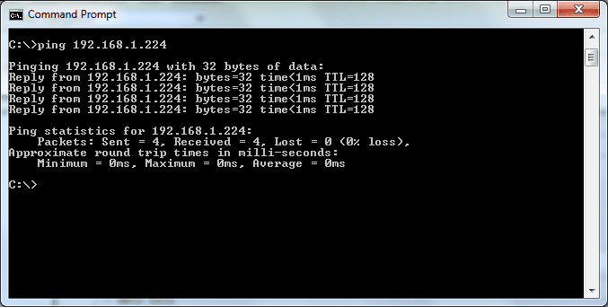 Command Prompt - Ping - Responsive IP Address