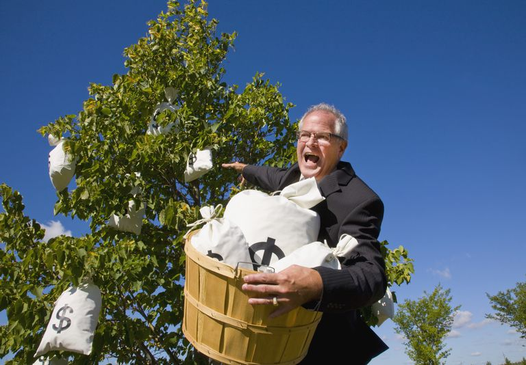 businessman harvesting money from a money tree