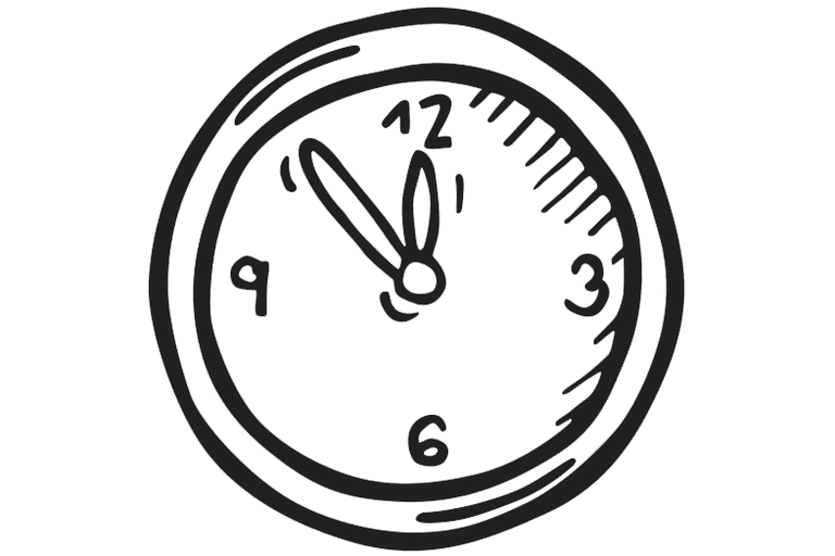 Illustration of a clock about to reach midnight