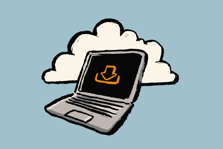 Illustration of laptop with downloading sign and cloud against blue background
