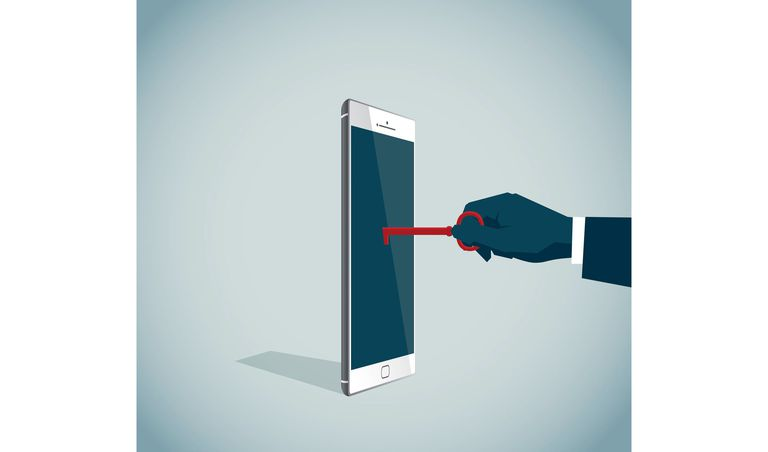 Illustration of a hand unlocking a phone with a key.