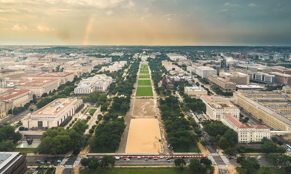 Aerial view of The Capitol and The Nation Mall, Washington D.C.