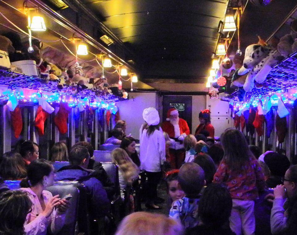 Santa arrives aboard the Polar Express