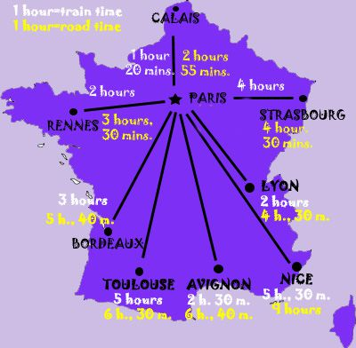 Map of France - Travel Times from Paris to Other French Cities