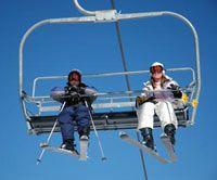 Riding the lift at Mt. Rose Ski Tahoe