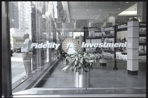 Fidelity Investments logo on storefront window
