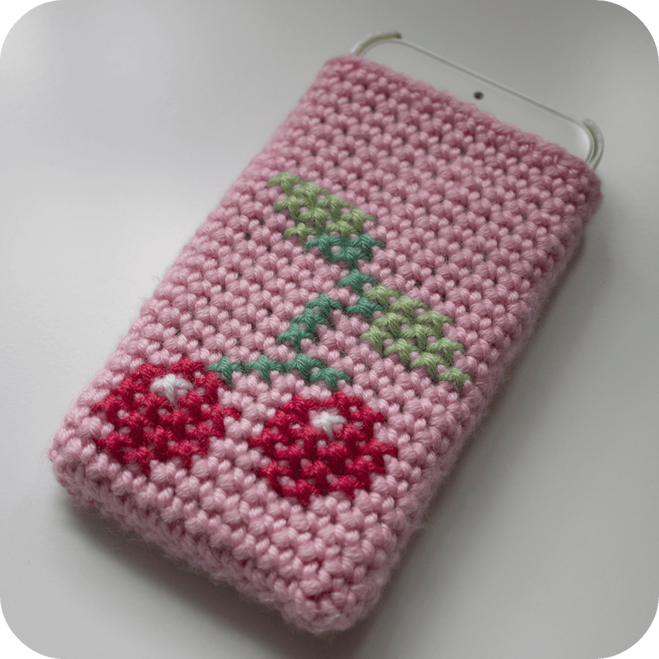 Cherry Cell Phone Case Free Crochet Pattern