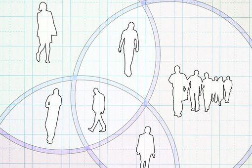 People separated by venn diagram