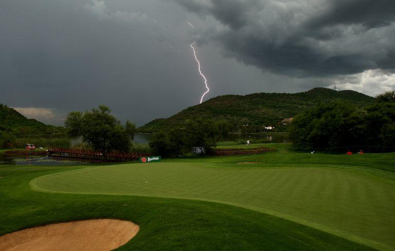 Lightning strike during Nedbank Golf Challenge in South Africa