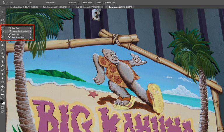 The Perspective Crop tool is highlighted in the Photoshop Tools panel.