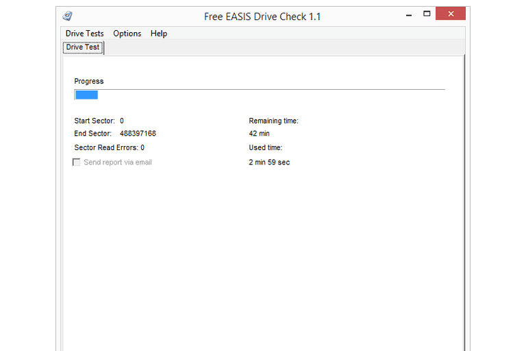 Screenshot of Free EASIS Drive Check v1.1