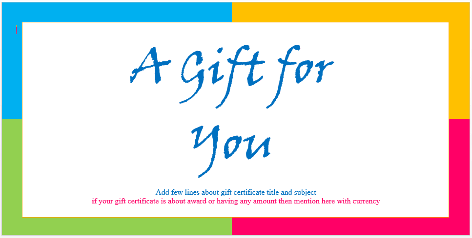 Custom gift certificate templates for microsoft word for Free gift certificate template word