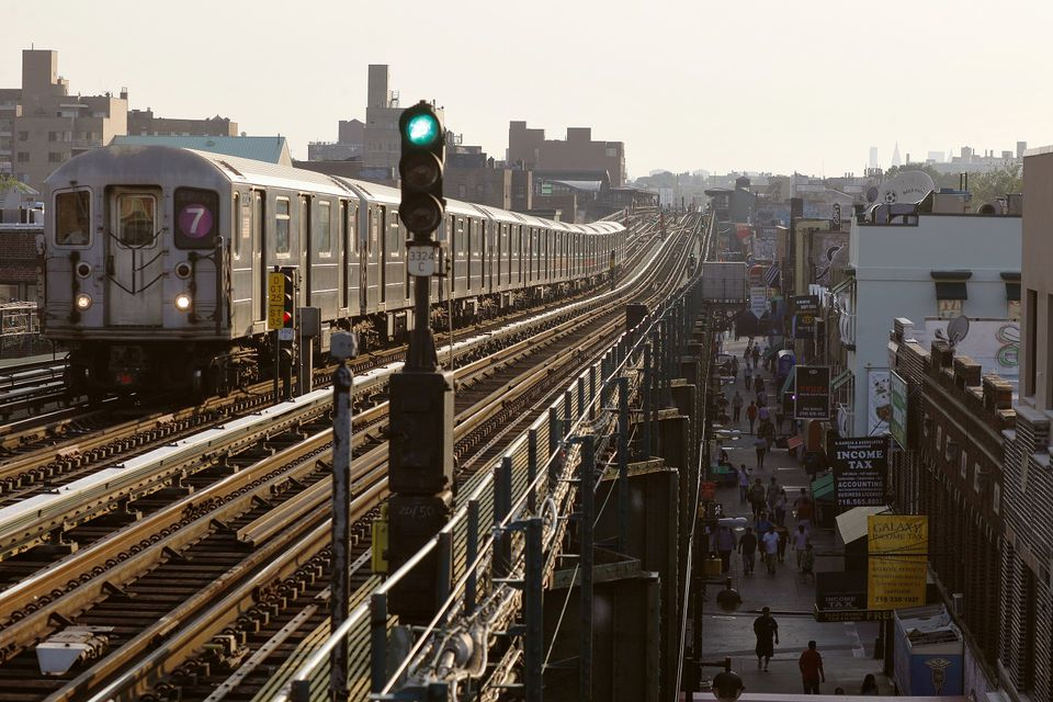 The elevated subway line in Jackson Heights, Queens