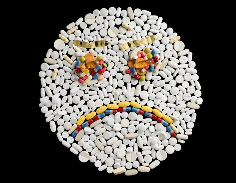 Sad face made from pills