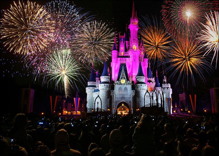 Walt Disney castle with fireworks