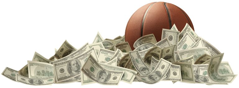 Basketball in a pile of cash
