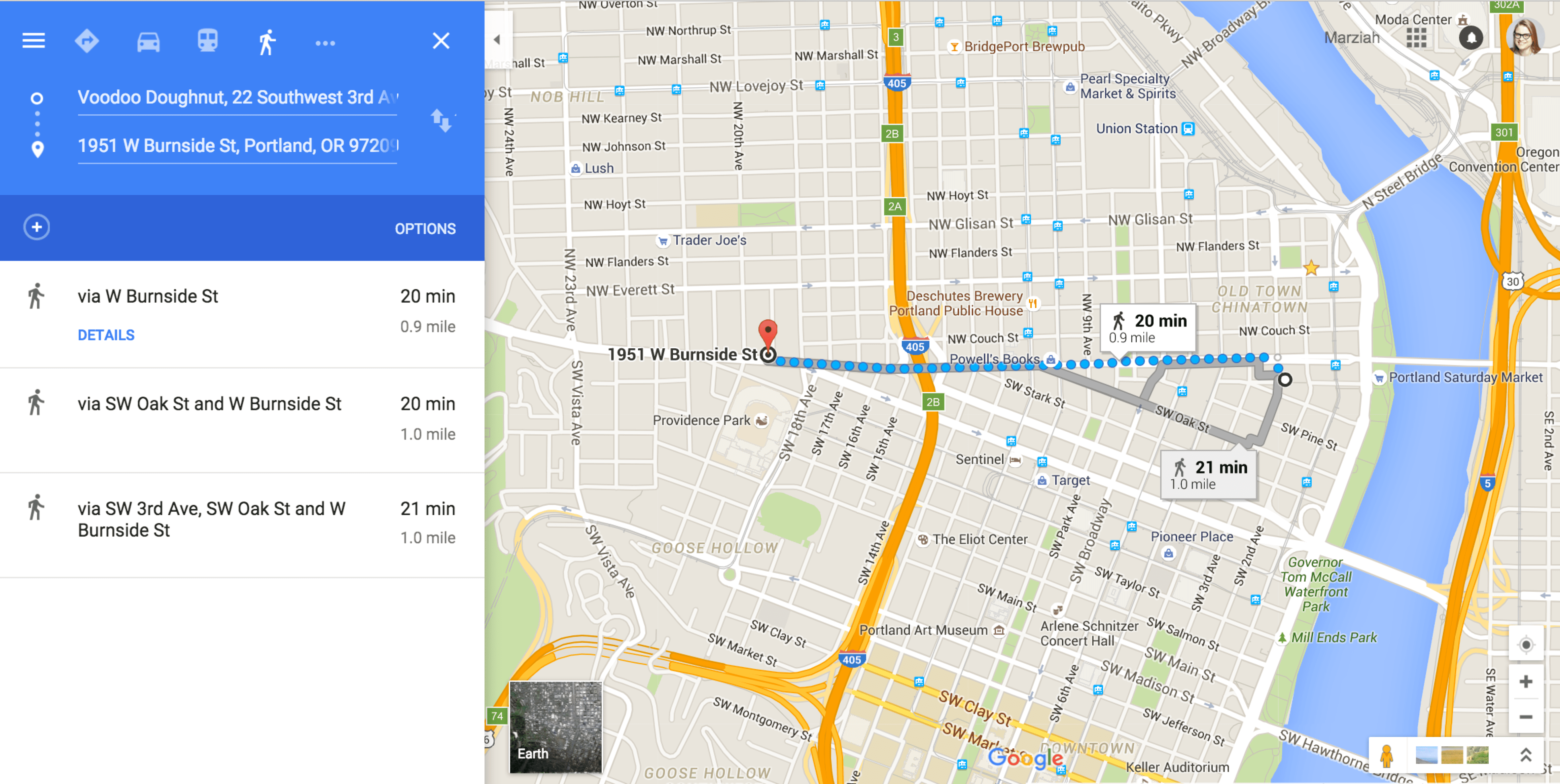 how to get google maps walking directions -