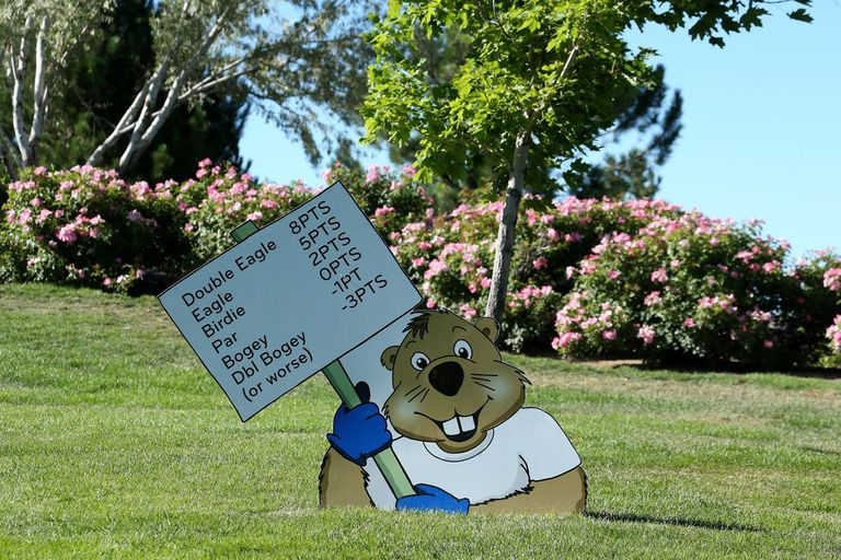 RENO, NV - AUGUST 02: A cartoon gopher cutout holds a sign explaning the Modified Stableford scoring system during the second round of the Reno-Tahoe Open at Montreaux Golf and Country Club on August 2, 2013 in Reno, Nevada.