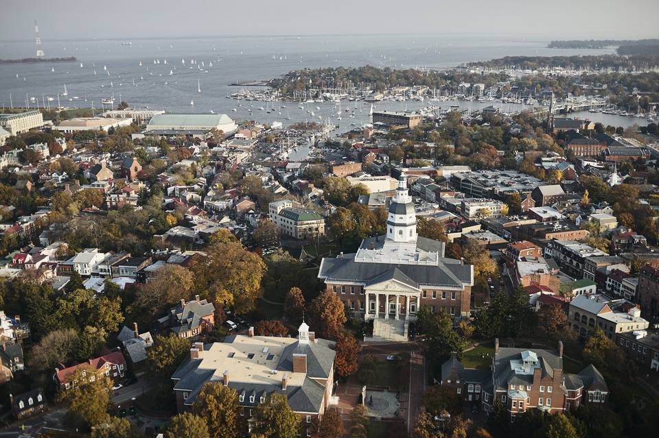 USA, Maryland, Aerial photograph of the State House and Capital in Annapolis