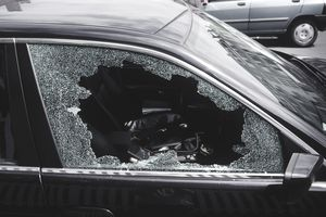 car with broken side window