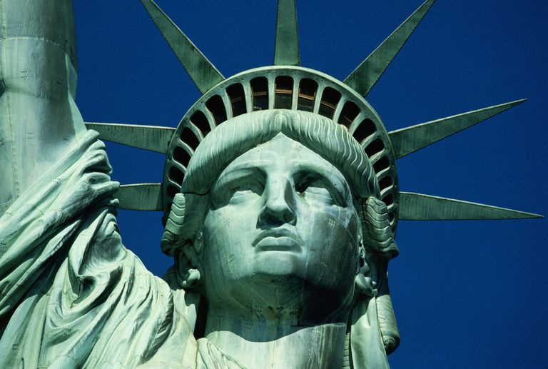 The Statue of Liberty was reddish gold when it was new. Over time, the copper oxidized to form green verdigris.