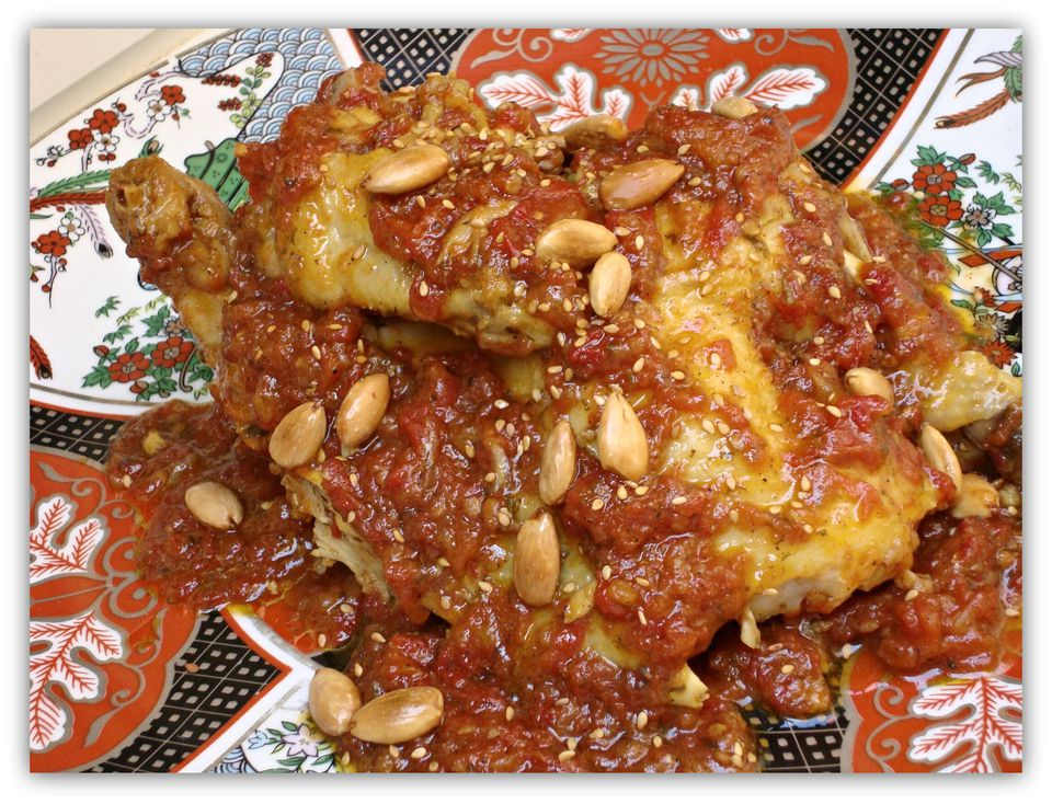 chicken with tomato jam and almonds