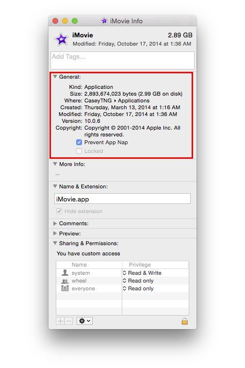 iMovie with App Nap option displayed