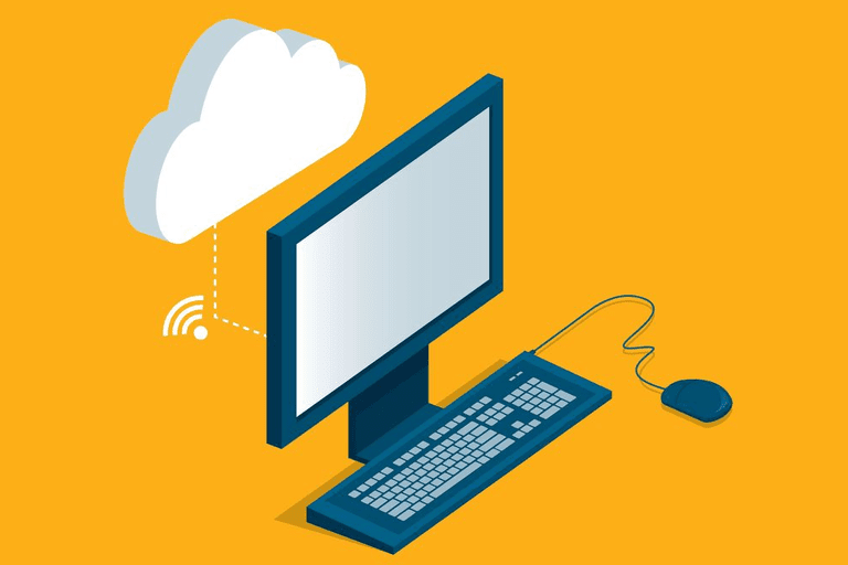 Illustration of a computer connected to the cloud