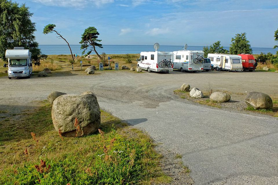 Skane County, Sweden 10th, August 2015 Camping vans and trailers sit at campsite along the Baltic sea coast near Ystad, southern Sweden