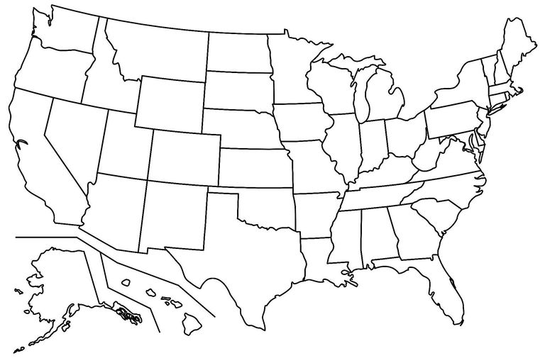 17 Blank Maps of the US and Other Countries